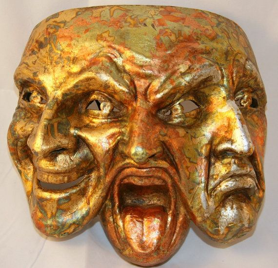 Gold Comedy Tragedy Theater Costume Mask