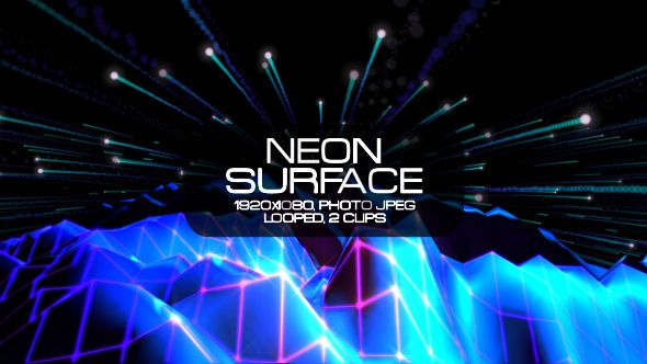 Neon Surface Video Animation | 2 clips | Full HD 1920×1080 | Looped | Photo JPEG | Can use for VJ, club, music perfomance, party, concert, presentation | #dance #disco #edm #galaxy #glow #mountain #music #neon #net #planet #space #surface #vj #voyage