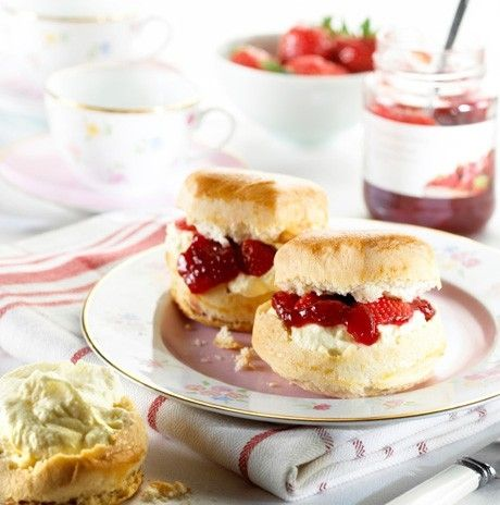 Traditional English tea scones with jam and cream...