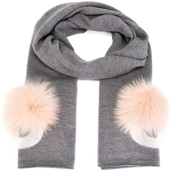 Fendi Bag Bugs scarf (€845) ❤ liked on Polyvore featuring grey and fendi