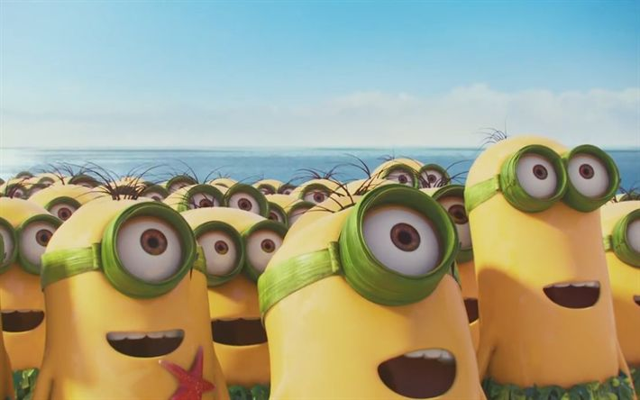 Download wallpapers Minions, beach, Despicable Me, 3D-animation, Funny Minions