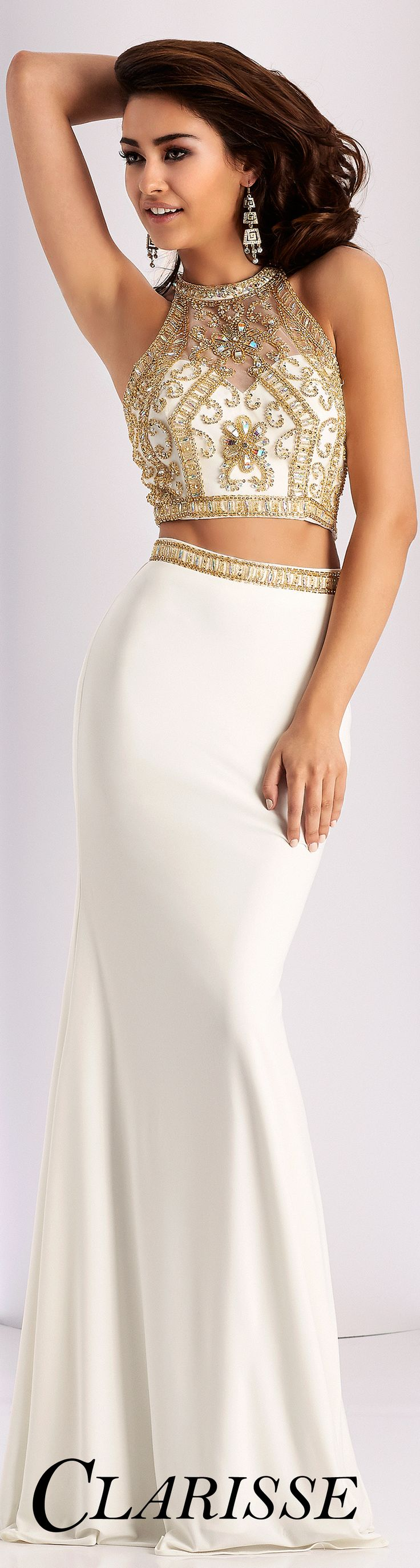 Best Selling Clarisse Prom Dress 3006. Two piece fitted prom dress with beaded top and sheer mesh back. COLOR: Ivory/Gold, Gray/Silver, Marsala/Silver, Navy/Silver, Teal/Silver SIZE: 00-20 Find your nearest retailer by clicking the image!