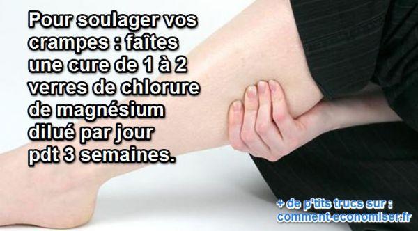 Une cure de 3 semaines de chlorure de magnésium rééquilibre les apports entre calcium et magnésium. Vos sels minéraux seront fixés comme avant et vos muscles n'auront plus ces contractions douloureuses.   Découvrez l'astuce ici : http://www.comment-economiser.fr/chlorure-crampes.html?utm_content=buffer8b320&utm_medium=social&utm_source=pinterest.com&utm_campaign=buffer