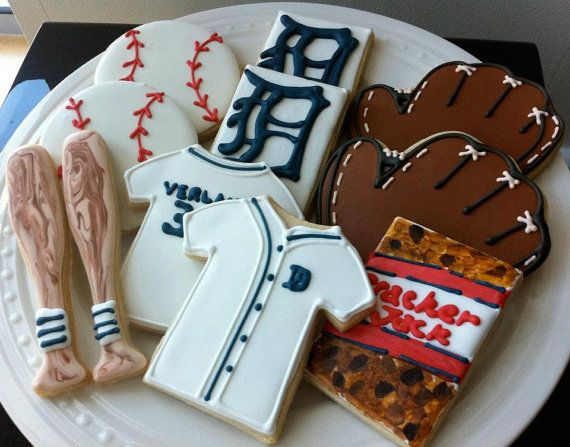 Detroit Tigers Baseball themed Decorated Cookies by peapodscookies