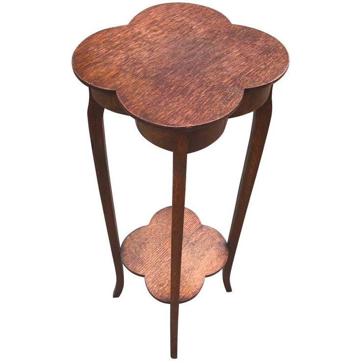 c1910 Arts and Crafts Solid Oak, Four Leaf Flower Shape Plant or Sculpture Stand Table | From a unique collection of antique and modern pedestals at https://www.1stdibs.com/furniture/tables/pedestals/
