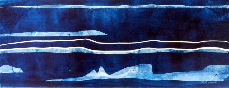 Antarctic Journey 4 by Mandy Gunn A$375.00 Monoprint with collage 28 x 76cm unframed, shipped flat