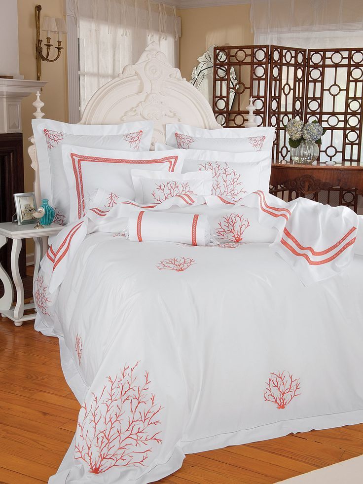 Coral Sea - Luxury Bedding - Italian Bed Linens - The incomparable beauty of Coral from the Caribbean is replicated here in exquisite hand embroidery on finest 600 thread count, 100% pure cotton percale from Italy
