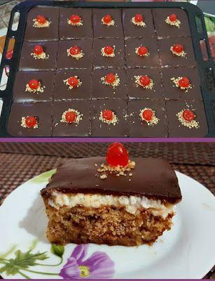 Καρυδόπιτα με κρέμα και γλάσο σοκολάτας !!! ~ ΜΑΓΕΙΡΙΚΗ ΚΑΙ ΣΥΝΤΑΓΕΣ