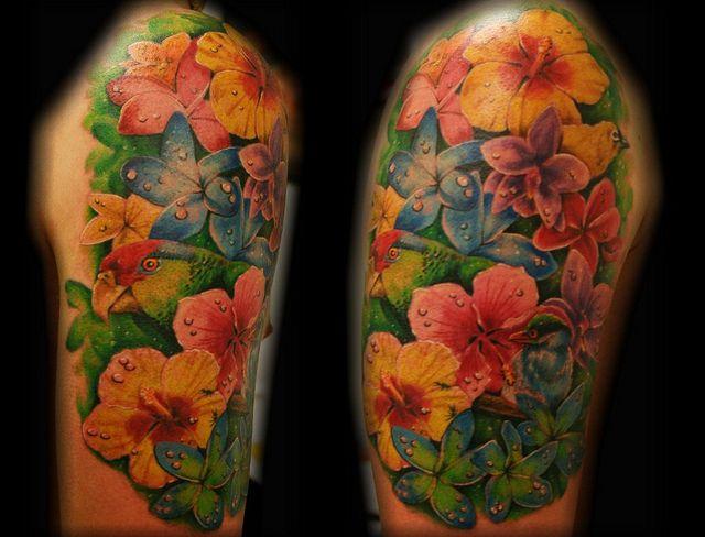 Tropical flower bird parrot tattoo by Jackie Rabbit ...
