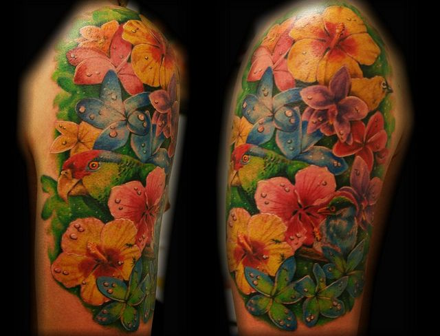 Tropical Flowers | Tropical flower bird parrot tattoo by Jackie Rabbit | Flickr - Photo ...