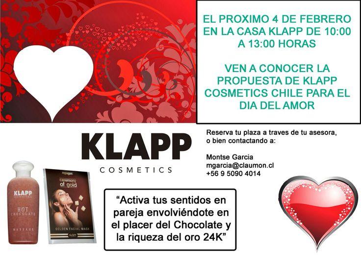 Klapp Cosmetics Chile invita a profesionales de la estetica a un taller gratuito con demostración de su linea de Chocolate y Mascara de Oro.  Para este jueves 4 de Febrero de 10:00 a 13:00 hrs.  ¡¡CUPOS LIMITADOS!! Para mayor información y como reservar contactarse con: Sra. Montserrat Garcia Correo: mgarcia@claumon.cl +56950904014