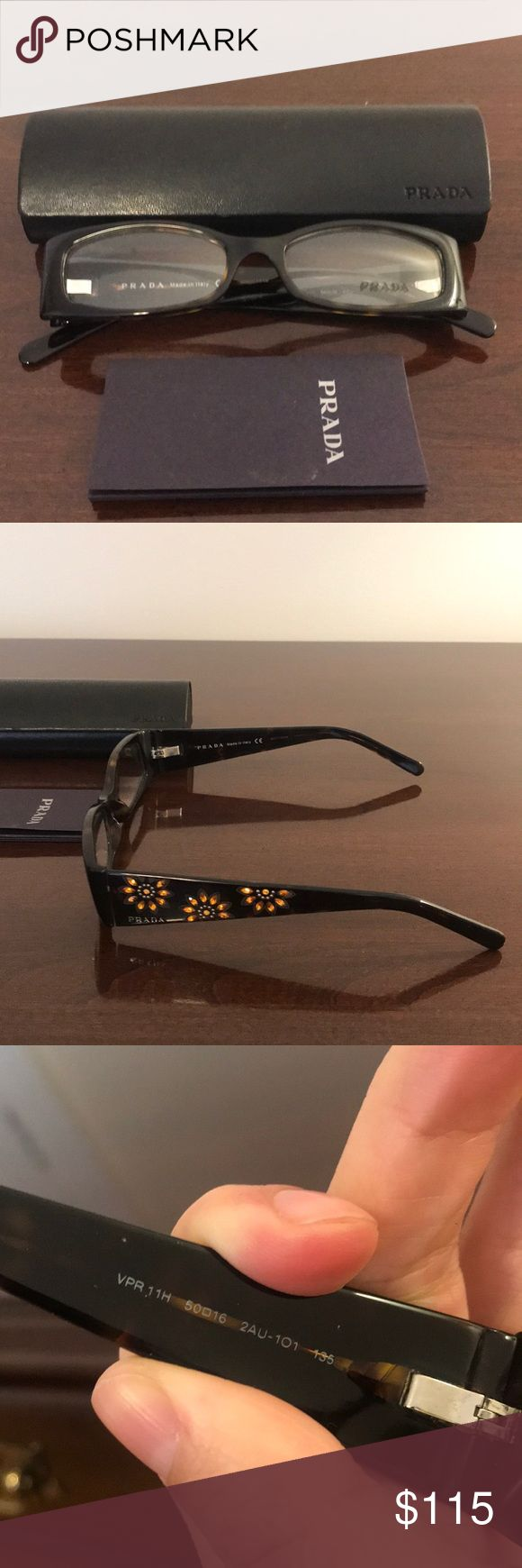 Prada Eyeglass Lenses NEVER WORN. Prada eyeglass lenses with beautiful floral detail on the sides. These have never been worn, Prada sticker is still on the lense. Prada Accessories Glasses