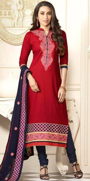 Karishma Kapoor Red And Navy Blue Cotton Salwar Suit With Dupatta.