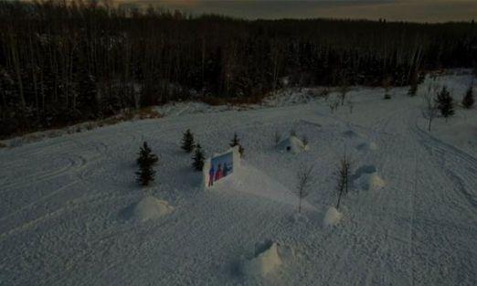 Una sala de cine hecha con nieve en Canadá