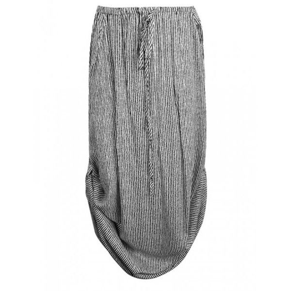 MAXI SKIRT WITH SIDE TABS IN STRIPE (67 BRL) ❤ liked on Polyvore featuring skirts, bottoms, maxi skirts, faldas, stripe maxi skirt, long skirts, long striped skirt and floor length skirts
