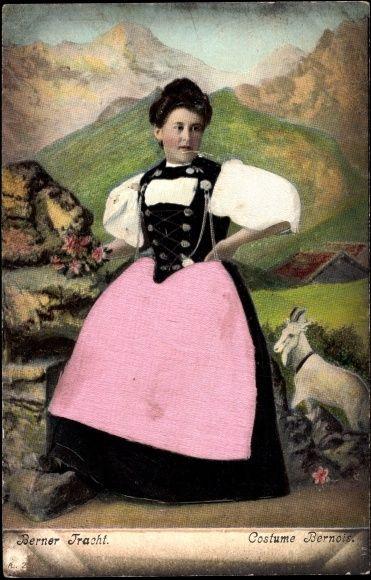 Präge Stoff Ansichtskarte / Postkarte Berner Tracht, Costume Bernois