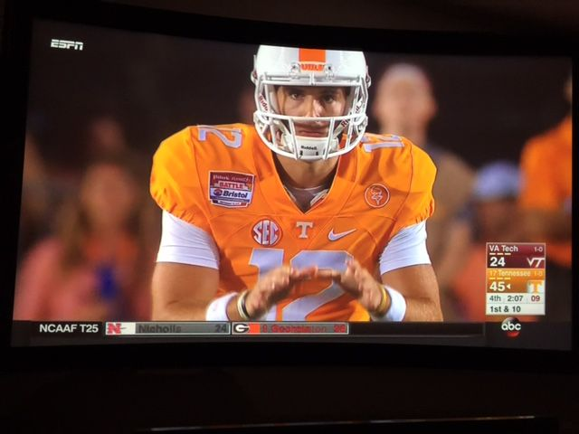 Tennessee Football on my home theater screen. There is nothing like it! Over the weekend my family and I enjoyed watching the Tennessee football game on our home theater screen. Nothing like seeing almost life size action coming right at you.  The battle in Bristol didn't start out great but the team got settled down …