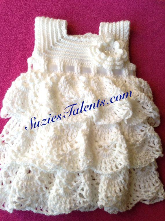 Get pattern here => http://tidd.ly/277ca3f1  2T-3T Alma Layers Dress, Crochet Toddlers Dress Pattern, Crochet White Dress Pattern. PATTERN PT089B,
