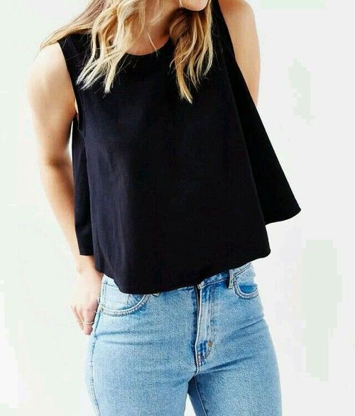 muscle tank + high waisted jeans #urbanoutfitters