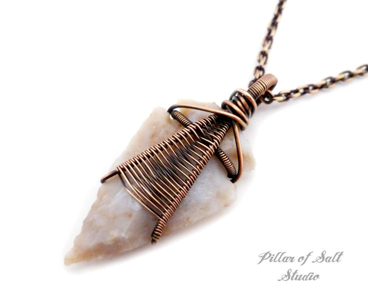 310 best arrowhead pendants images on pinterest jewerly jewel greyish tan agate arrowhead wire wrapped pendant necklace aloadofball Image collections
