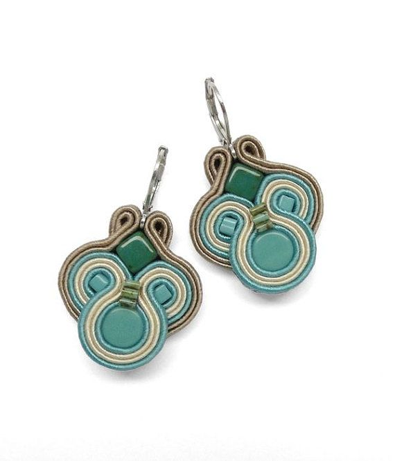 Turquoise Earrings Soutache Earrings Turquoise by BeadsNSoutache