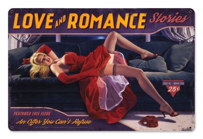 Love And Romance Pin Up Girl Metal Sign 18 x 12 Inches