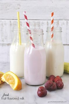 Fresh Fruit Flavored Milk - have some fun in the kitchen making these strawberry, orange, and banana flavored milks