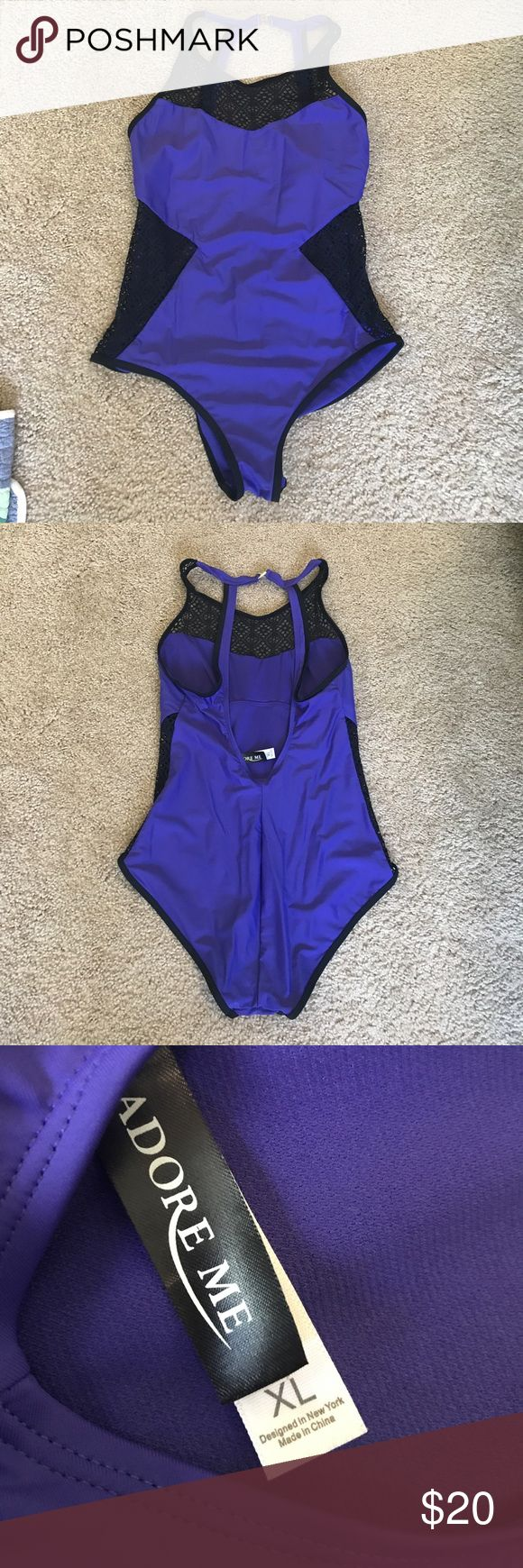 Gorgeous Purple Swimsuit with Mesh Panels Never worn swimsuit that was purchased as part of my monthly subscription but ended up being too small for my long torso. The mesh detail makes for a really sexy swimsuit! 💜 Adore Me Swim One Pieces