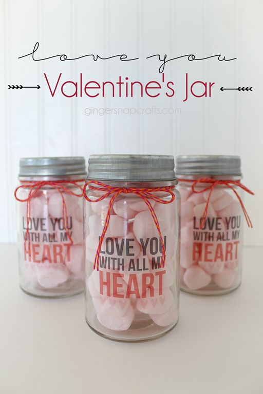 Love You Valentine's Jar {tutorial} #printandcut @silhouettepins