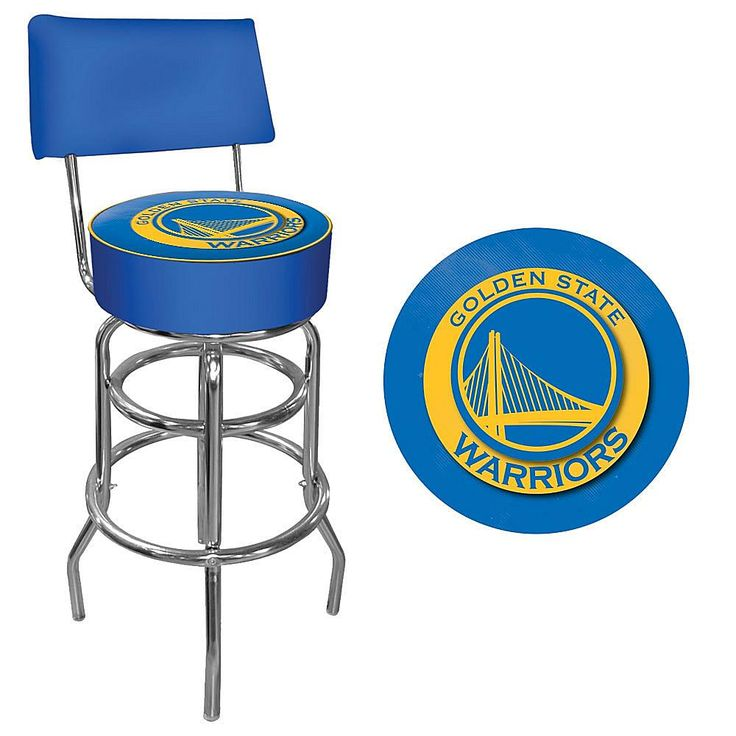 Trademark Global, Inc. Golden State Warriors Padded Swivel Bar Stool with Back
