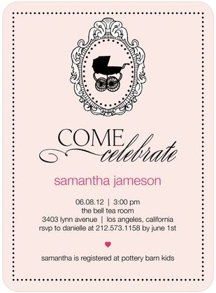Baby Shower Invitations Elegant Carriage - Front : Chenille. Designed by Ceci New York.