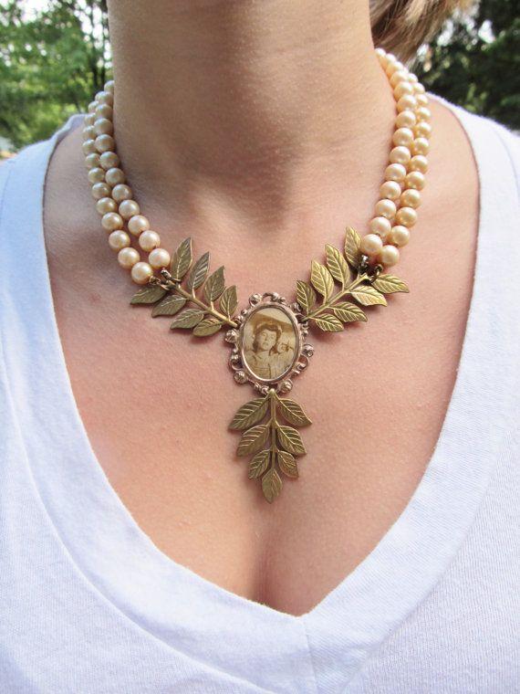 Pearl Bib Necklace Wedding Jewelry Assemblage by daniellerosebean, $62.00