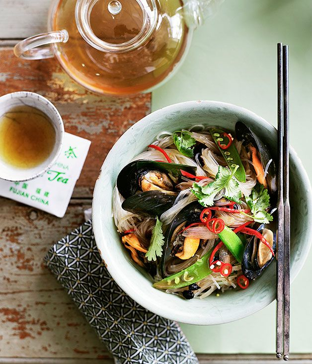 Stir-fried Bean Thread Noodles with Black Bean and Chilli Mussels by Kylie Kwong - Australian Gourmet Traveller