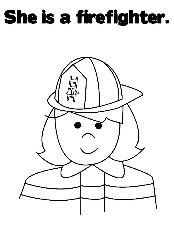 The Firewoman With Images Firefighter Coloring Pages Cute