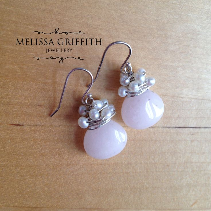 New Jade Teardrop Earrings (MGE82) $28.00 Smooth pale pink new jade teardrop beads are wire wrapped with sterling silver wire and freshwater pearls. Perfect for the bride-to-be or a special occassion! Earrings hang 1.25 inches from top of earring hook.