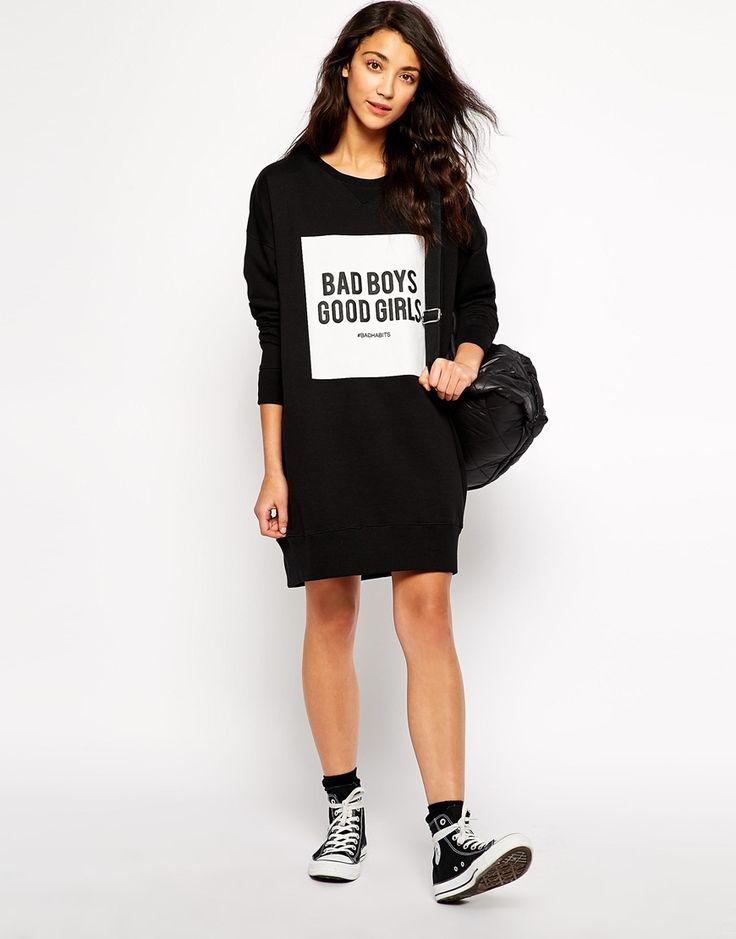 Image 4 - Pull&Bear - Robe sweat ornée de l'inscription « Bad Boys Good Girls »