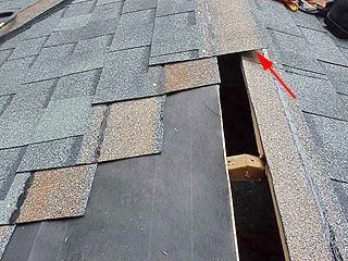 Shingles near top of roof.