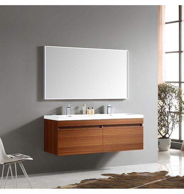 Fresca Largo 57 In Teak Modern Bathroom Vanity With Wavy Double