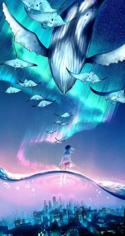 grafika anime, art, and night