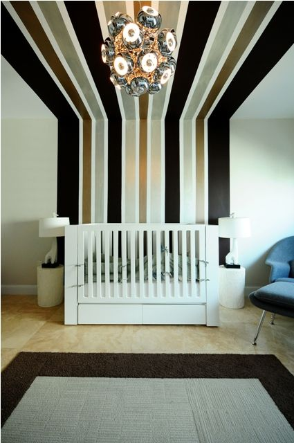 20 Elegant and Classy Striped Walls. I love this dramatic stripe. Super weird for a nursery but like it for a living room or foyer