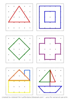 justfordaisy: Making A Geoboard Busy Bag with Activity Card Printable (could make letter and number templates as well)