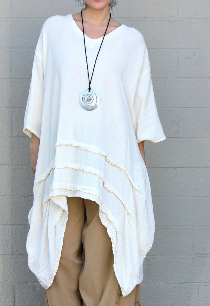 OH MY GAUZE Cotton Drip-Side Tucked Hem  GENEVA  Long Tunic  OS+ 1X/2X/3X  BONE #OHMYGAUZE #Tunic #Versatile