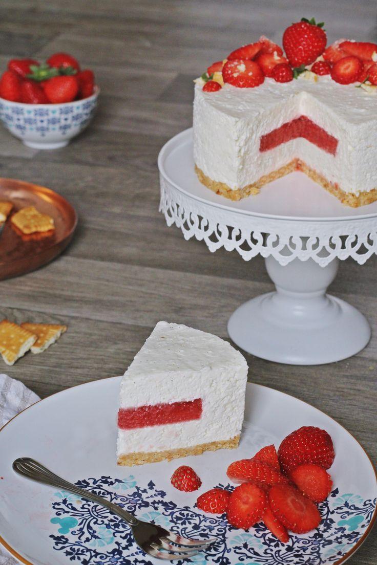 Cheesecake et son insert à la fraise, sans cuisson
