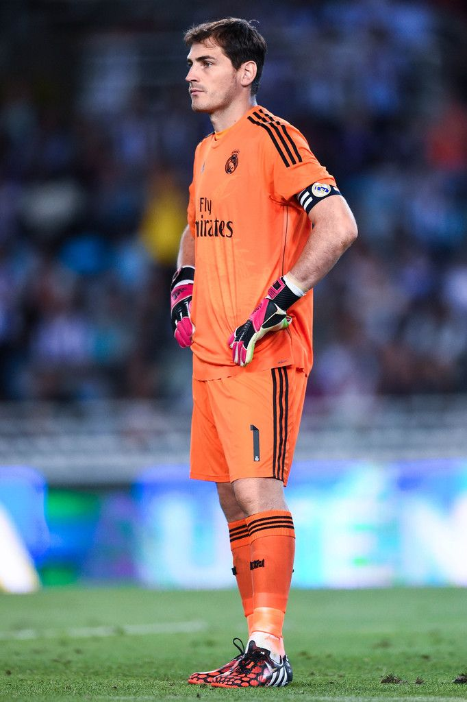 Iker Casillas of Real Madrid CF looks on during the La Liga match between Real Sociedad de Futbol and Real Madrid CF at Estadio Anoeta on August 31, 2014 in San Sebastian, Spain.