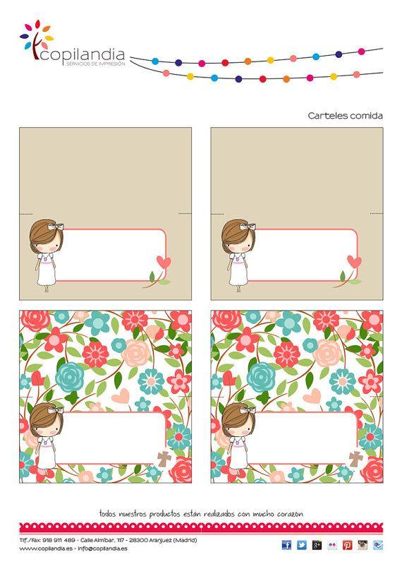 Kit Imprimible Comunion Flores por CopilandiaEventos en Etsy