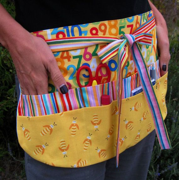 Bees and Numbers Teacher Utility Apron with Eight by Foodphyte, $27.95