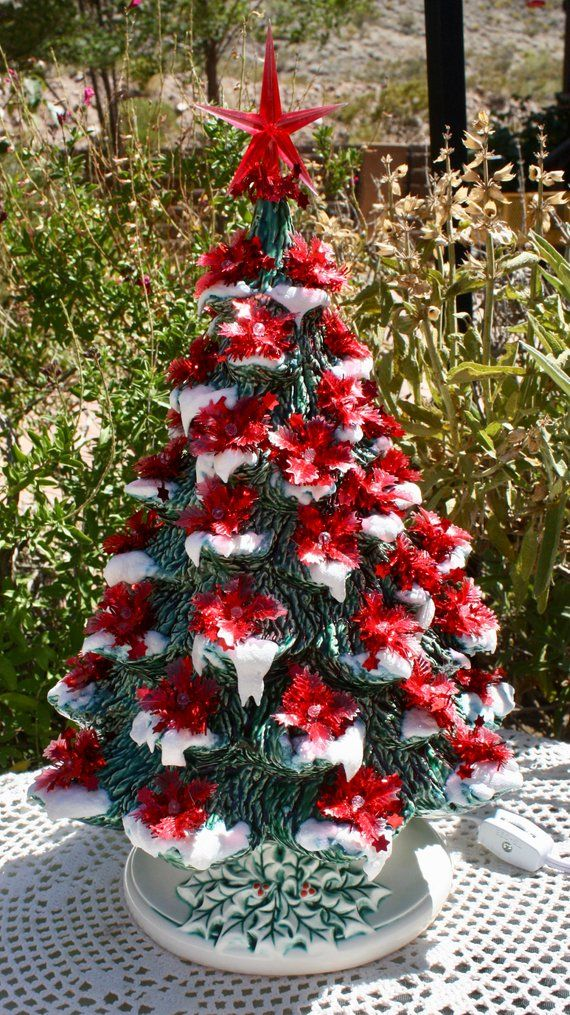 15 Ceramic Christmas Tree Lighted with Music Box Just HHouseFired