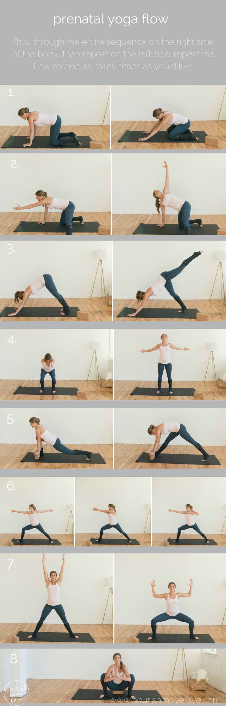 these 8 prenatal yoga poses will help you strengthen and tone during all three trimesters, while also stretching the tight muscles associated pregnancy.