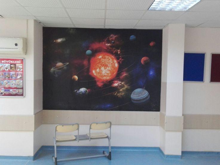 Uzay ve Gökyüzü Manzaralı Duvar Kağıdı Modelli - 3D Duvar Kağıdı - 3 Boyutlu Duvar Kağıdı - Okul - Sınıf - Ofis - Bilim -  Evren - Dekorasyon - İç Mimari - Duvargiydir.com