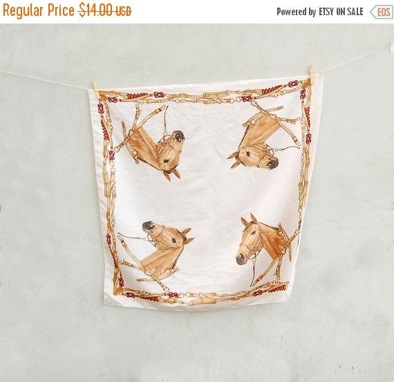 Vintage big ivory country western scarf with brown horse ornament painting - Vintage accessories fashion ivory scarf  - Christmas gift scarf